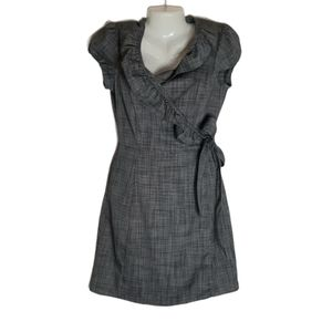 The Limited Charcoal Gray Wrap Ruffle V Neck Dress